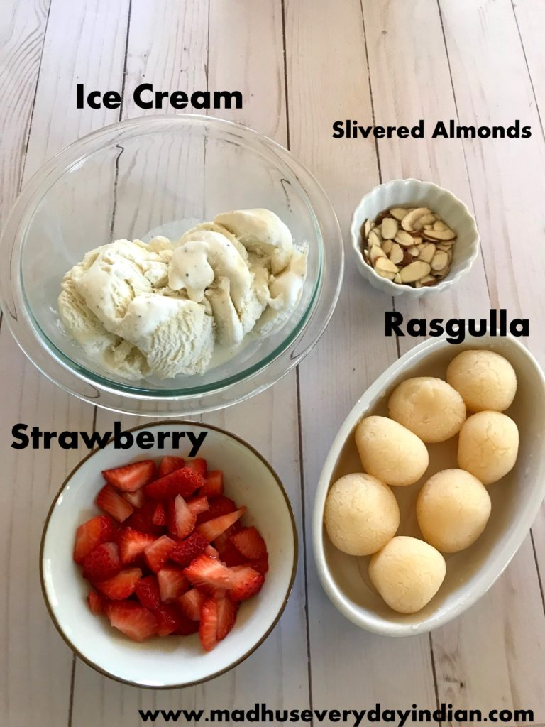 rasgulla ice cream- rasgulla ice cream is a tasty cold dessert made of rasgulla, ice cream and starwberry. Try this rasgulla ice cream for diwali, holi or any gathering. #diwali #rasgulla #icecream