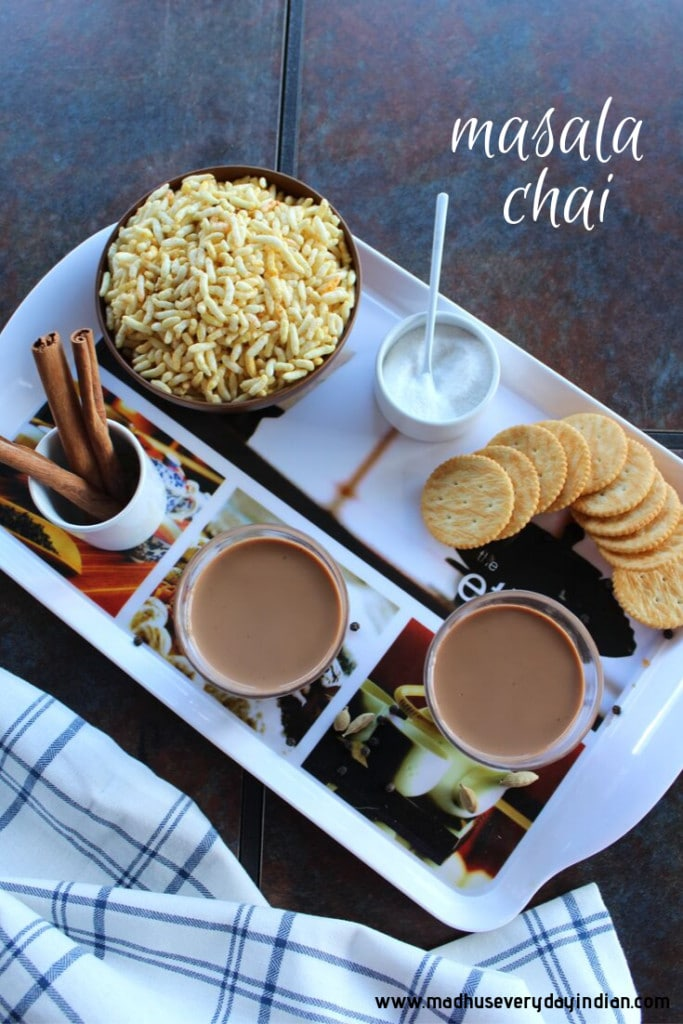 masala chai with sugar and biscuit