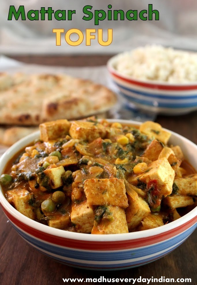 tofu curry, spinach curry, peas curry, indian curry recipes