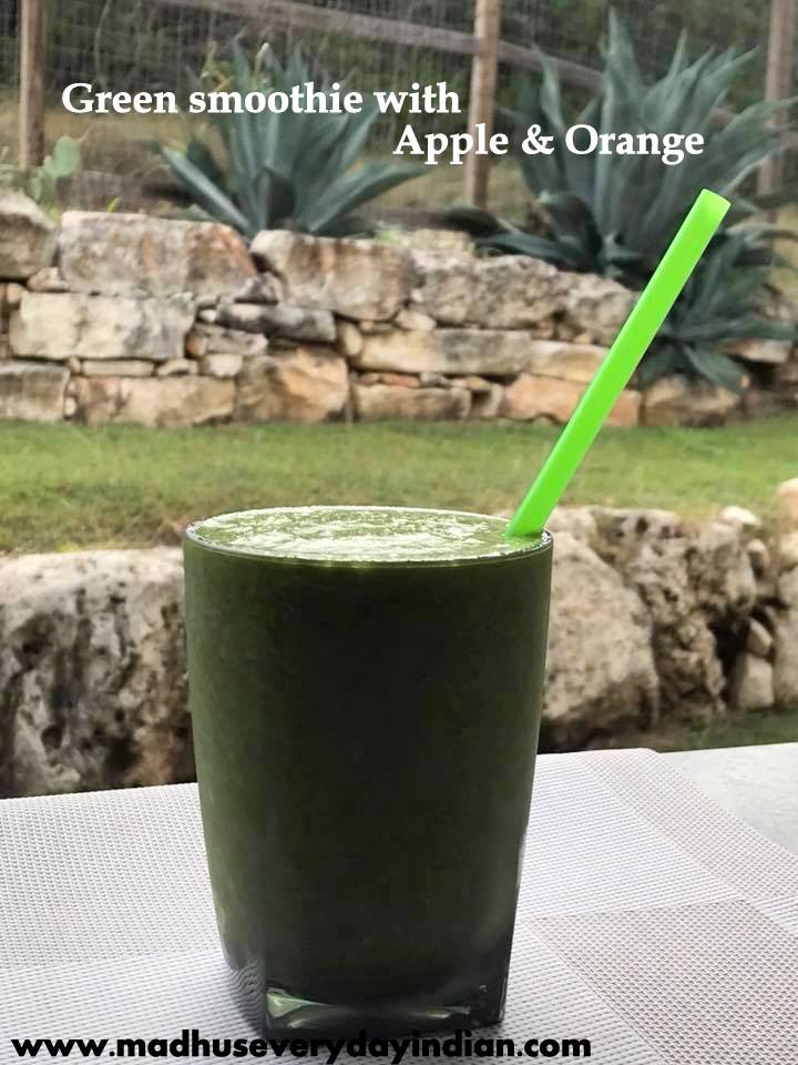 green smoothie with apple and orange