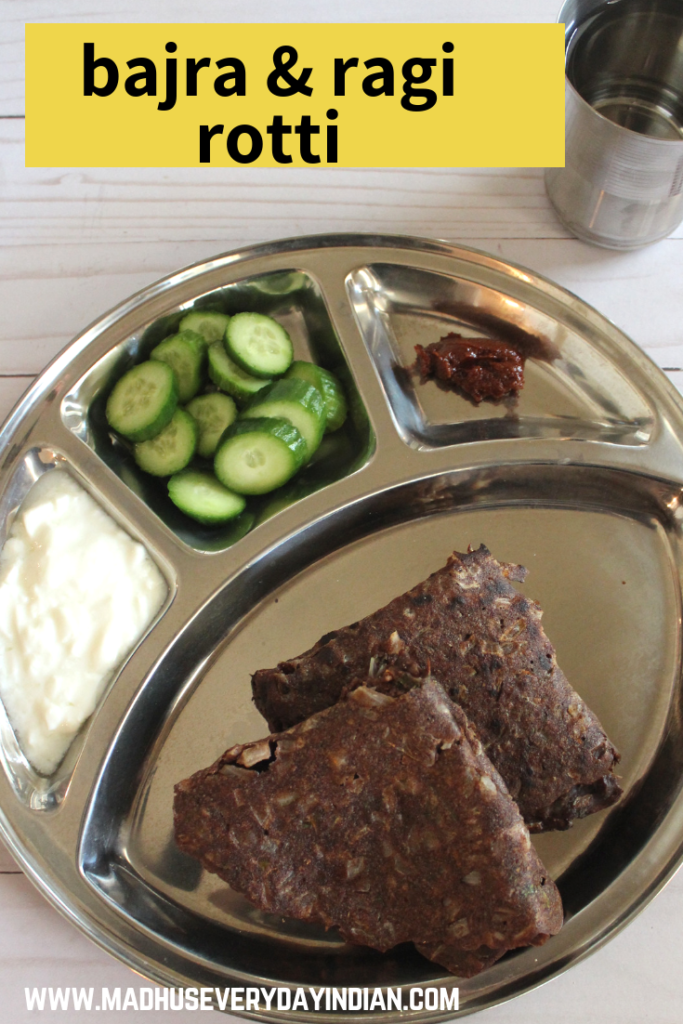 bajra ragi masala rotti with yogurt and pickle