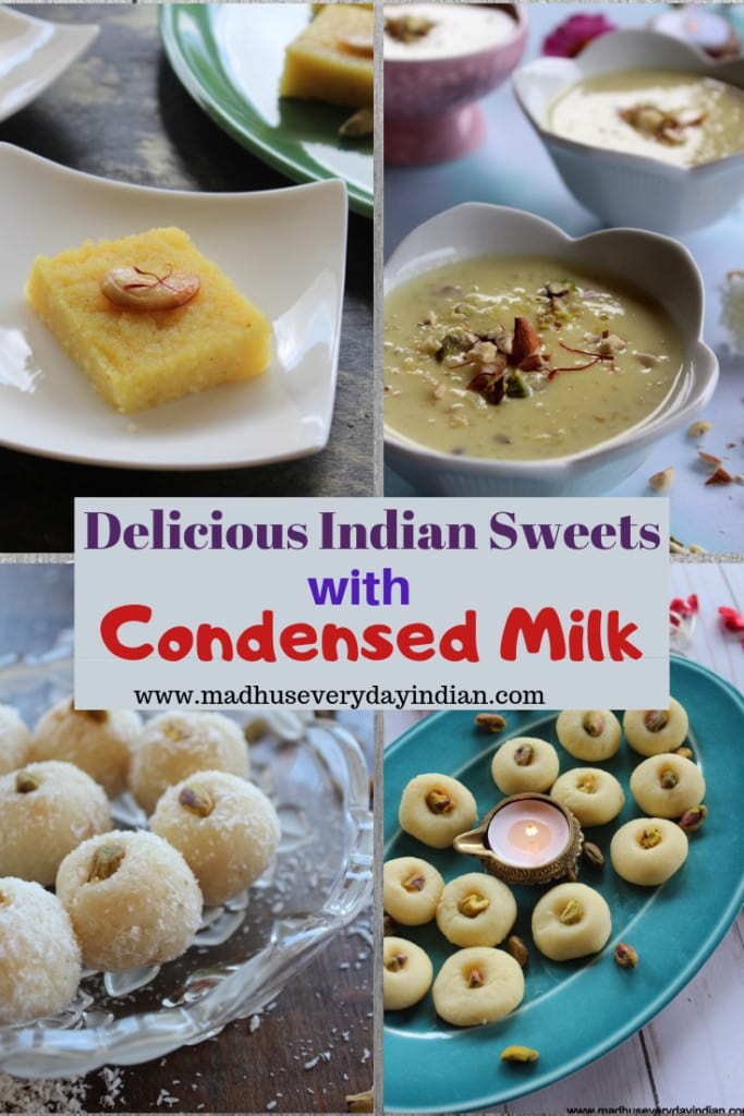 collection of indian sweets made with sweetend condensed milk