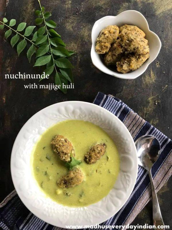 nuchinunde served with majjige huli are steamed toor dal dumplings. healthy and gluten free breakfast from karnataka.