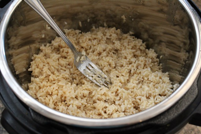 cooked brown rice in instant pot