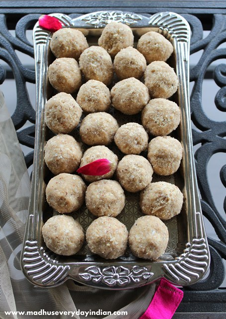 wheat ladoo with nuts and jaggery