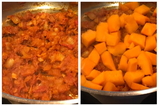 added pumpkin to the onion tomato mixture