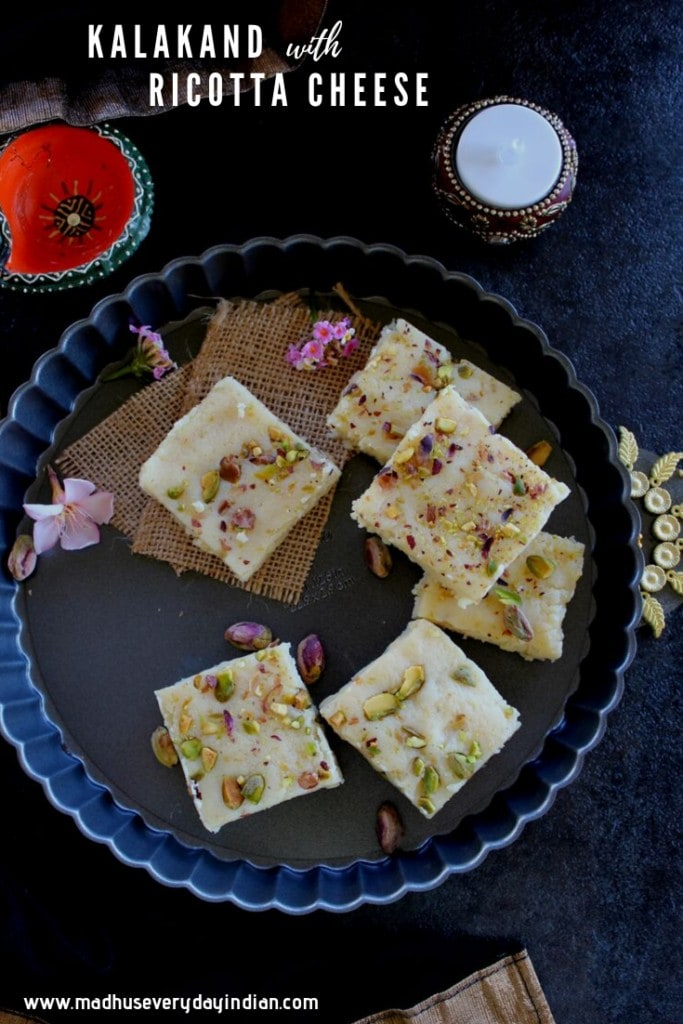 kalakand sweet topped with pistachio