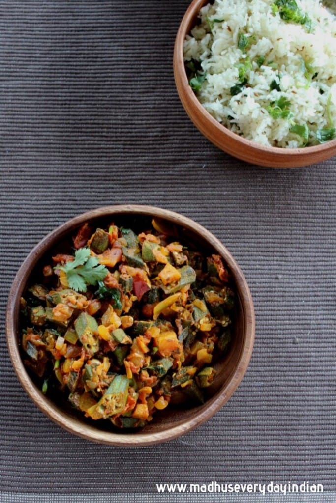 okra fry served with jeera rice