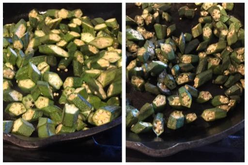 frying the okra (bhindi)
