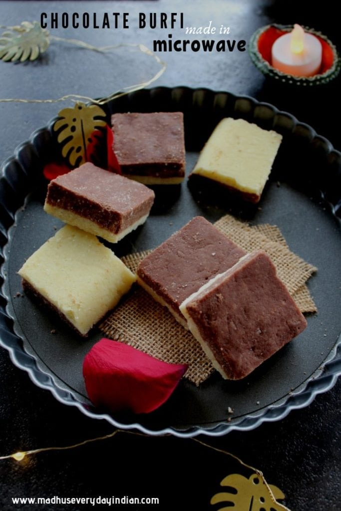 chocolate burfi recipe made with milk powder in microwave