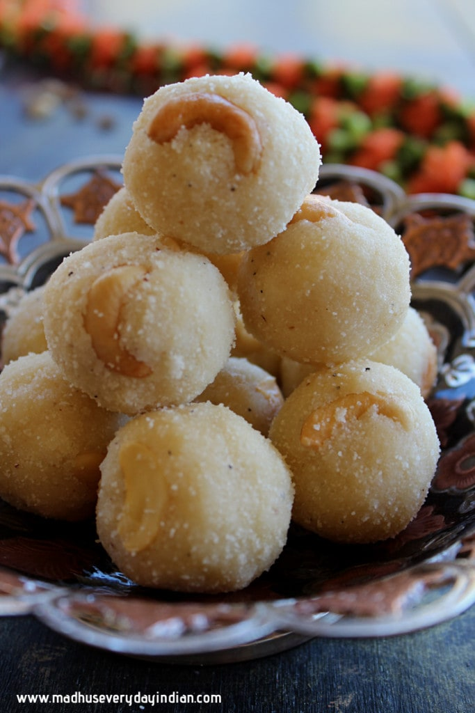 stacked up rava laddu in a bowl