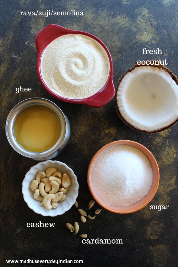 ingredients needed to make rava laddu