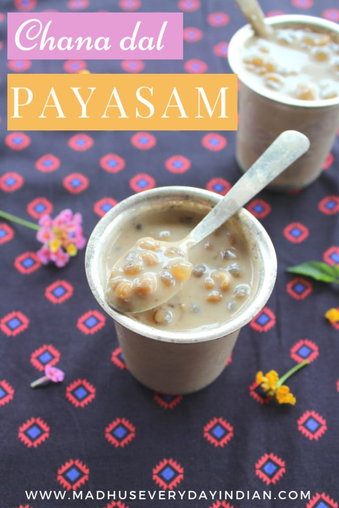 chana dal and saago payasam, served in a silver cup with a spoon