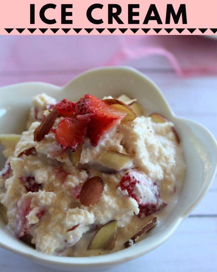 rasgulla ice cream- rasgulla ice cream is a tasty cold dessert made of rasgulla, ice cream and starwberry. Try this rasgulla ice cream for diwali, holi or any gathering. #diwali #rasgulla #icecream