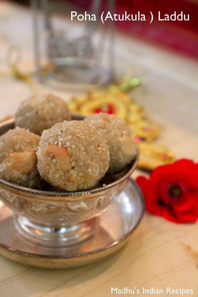 poha laddu placed in a bowl