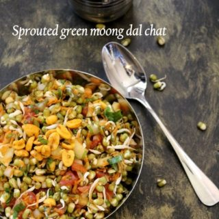 Sprouted green moong dal chat
