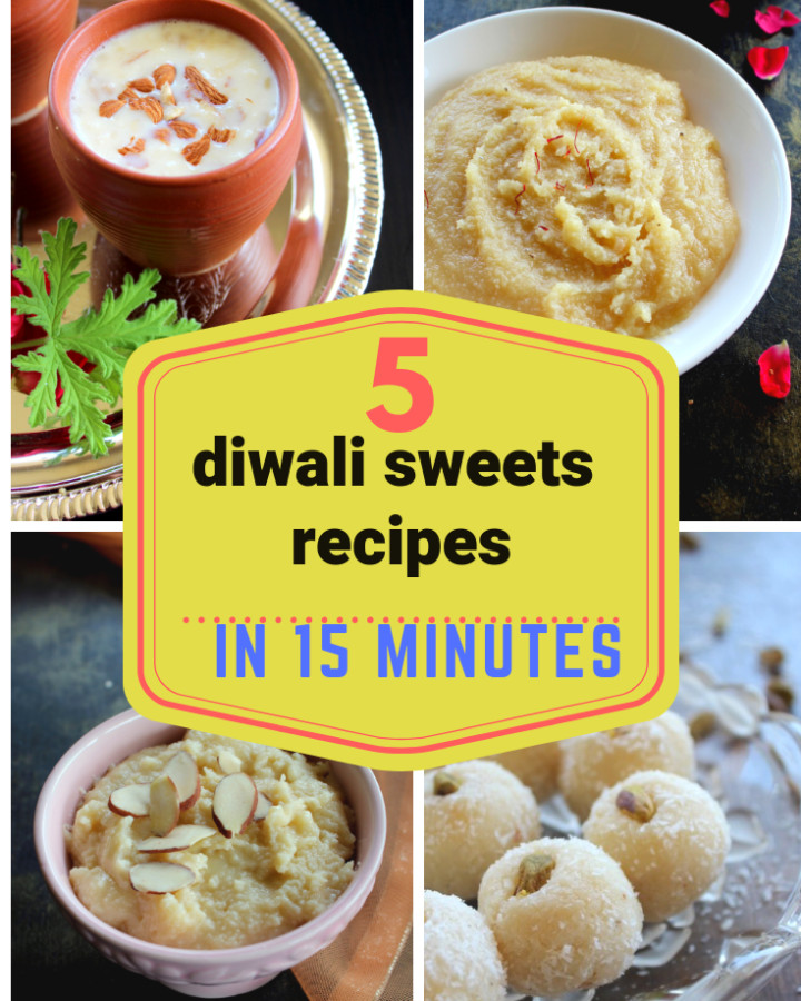 collection of 5 diwali sweets recipes. Quick and easy diwali sweets recipes like instant peda, instant coconut ladoo, paneer kheer, palakova and almond halwa. #diwali #halwa #kheer #paneer #peda #laddoo