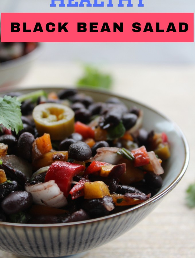 Healthy black bean salad recipe- easy and healthy black bean salad ready in ten minutes.Serve it as a salad or as a side with the main course side or as a dip with tortilla chips. #salad #blackbeans #mexican #healthy