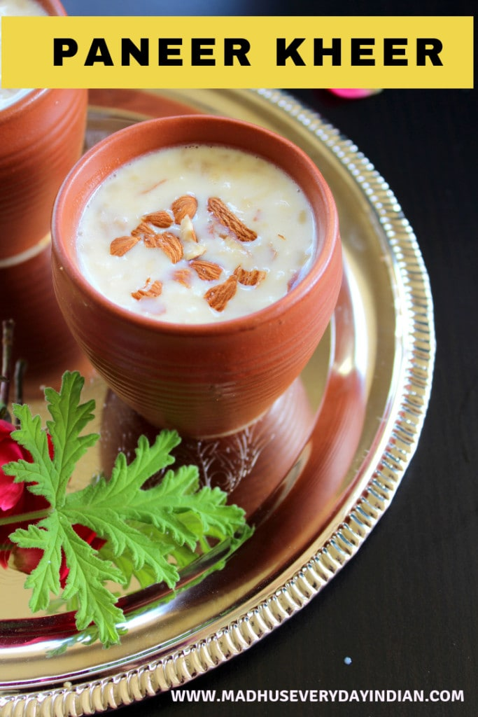 how to make quick and easy paneer kheer recipe. Paneer kheer is a indian dessert made with cottage cheese. Its a easy seet recipe to make for diwali, navratri and holi. #kheer #paneer #cottagecheese #diwali #indiansweet