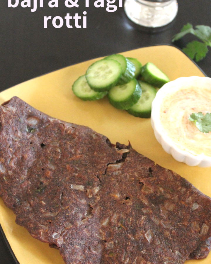 bajra ragi rotti with yogurt and cucumber