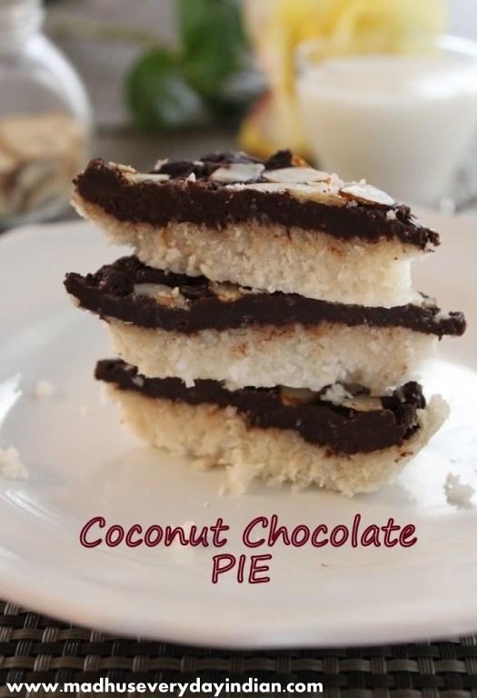 coconut chocolate pie or coocnut chocolate burfi served with milk