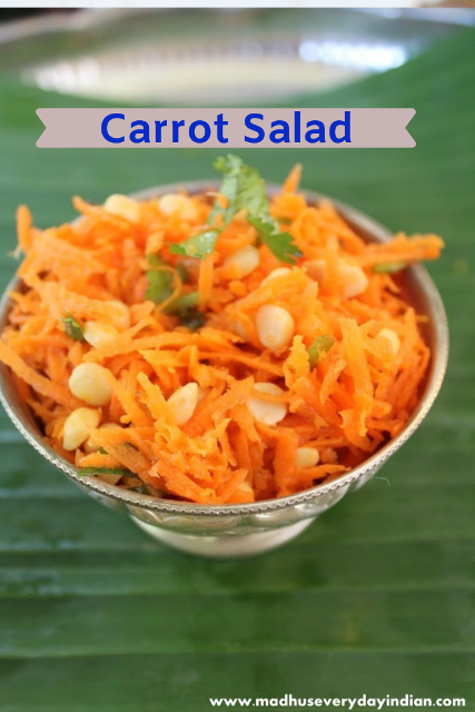 carrot salad with lentil and coriander leaves