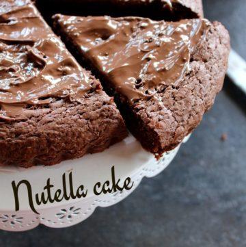 a slice pf nutella chocolate cake