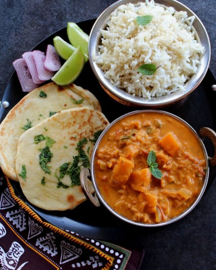 pumpkin curry served with rice and nan