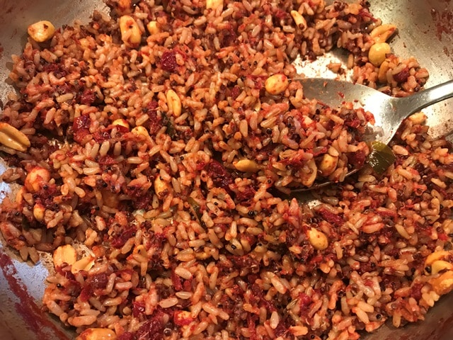 cranberry puliyogare ready to be served