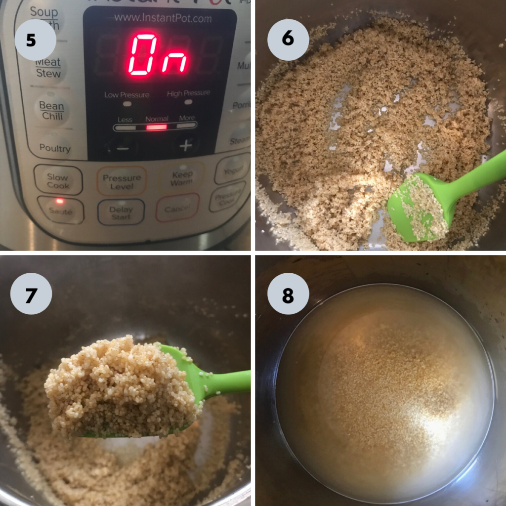 adding the millets in to a instant pot and toasting them