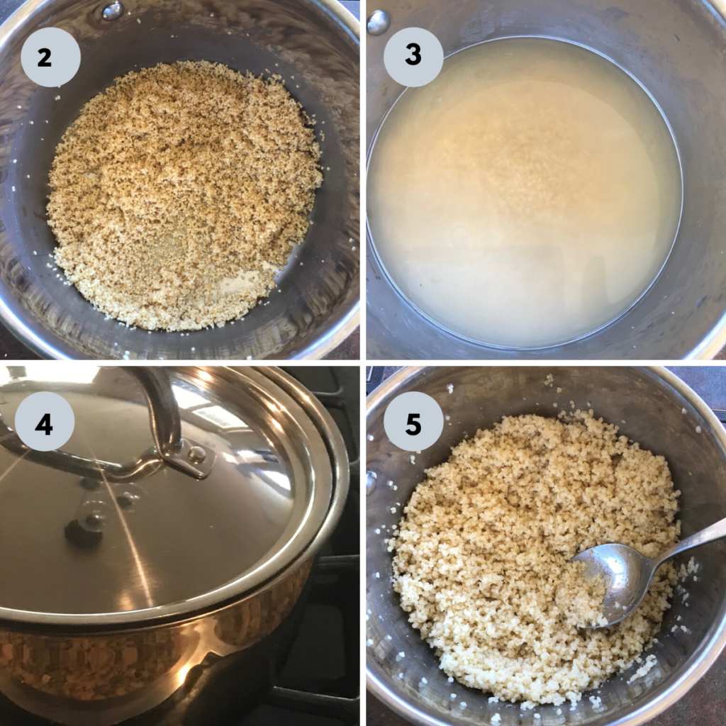 millets toasted in a steel sauce pan and cooked till fluffy