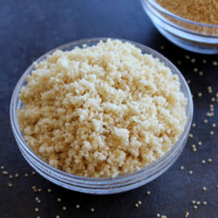 cooked millets in a glass bowl