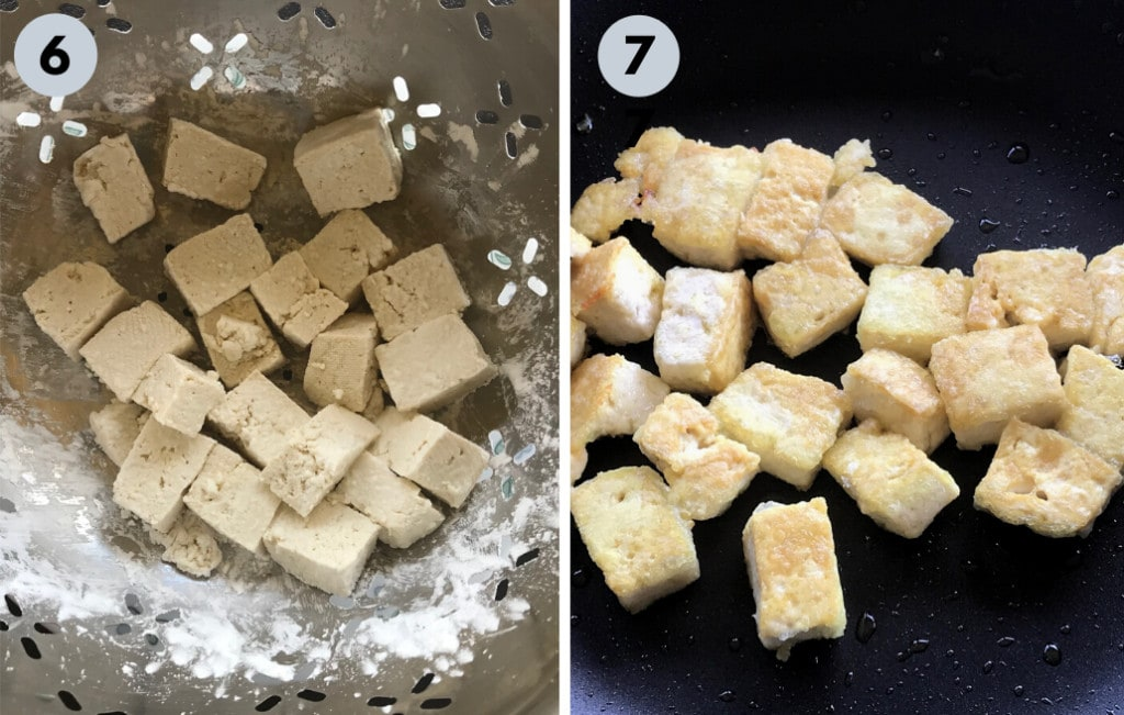 tofu coated with corn starch and pan fried
