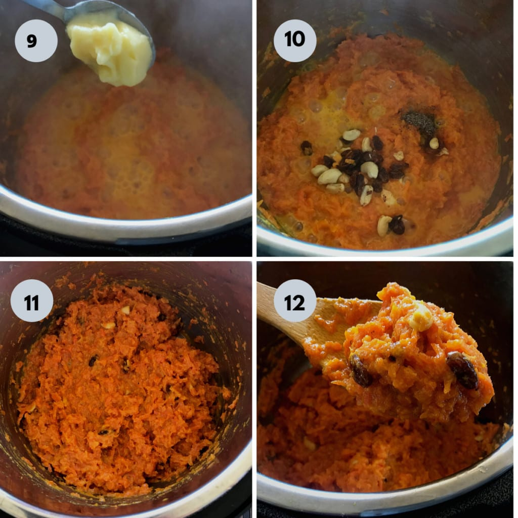 ghee and nuts are added to the cooked halwa