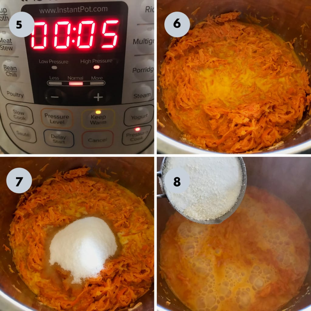 sugar and milk powder added to the cooked carrots