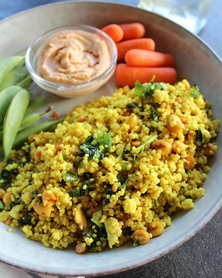 lemon millet rice with salad