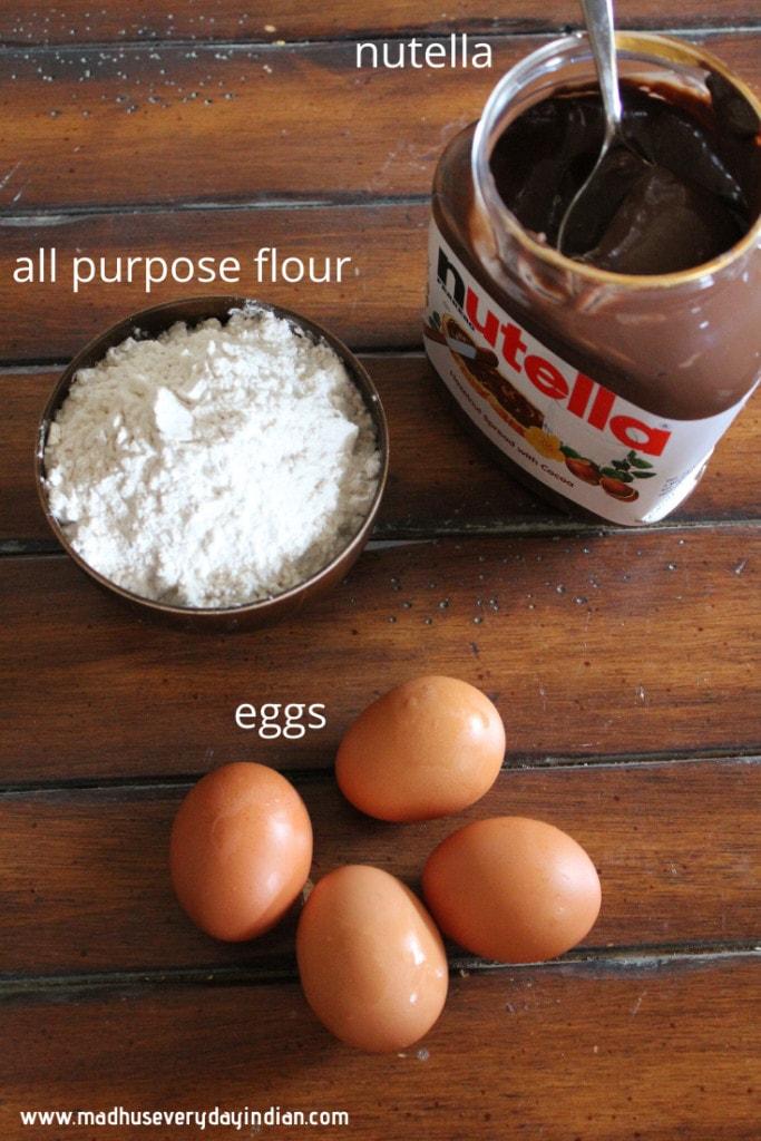 all purpose flour, eggs and nutella to make nutella cake