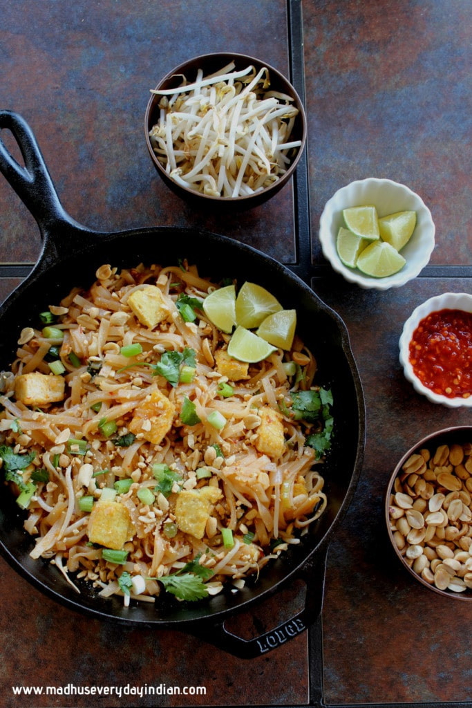 pad thai served in a cast iron skillet