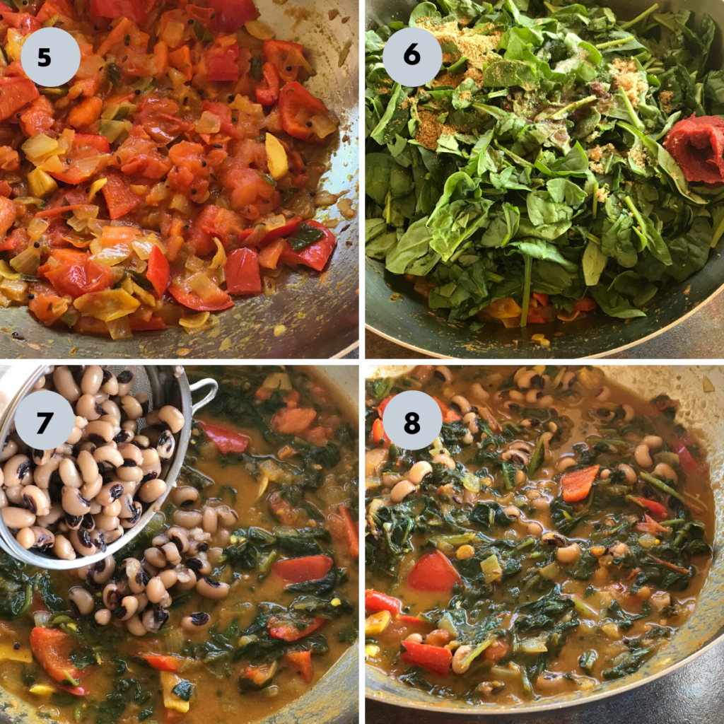 cooking tomato, spinach and spices to make the stew