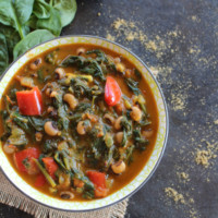 spinach stew in a bowl