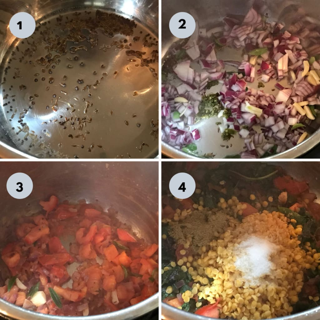 making indian dal with tempering mustard seeds, onion and tomato