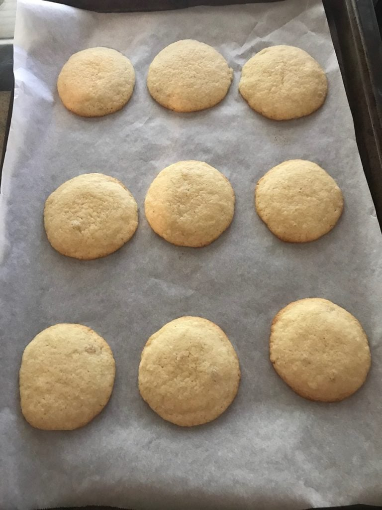 baked sugar cookies out of oven