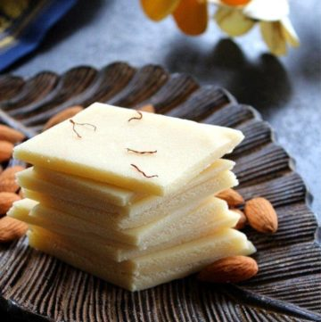 almond burfi stacked up