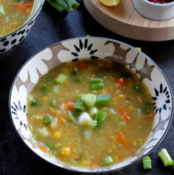 indo chinese style corn vegetable soup served in a bowl