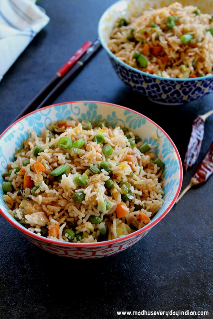 fried rice indian style served in a bowl