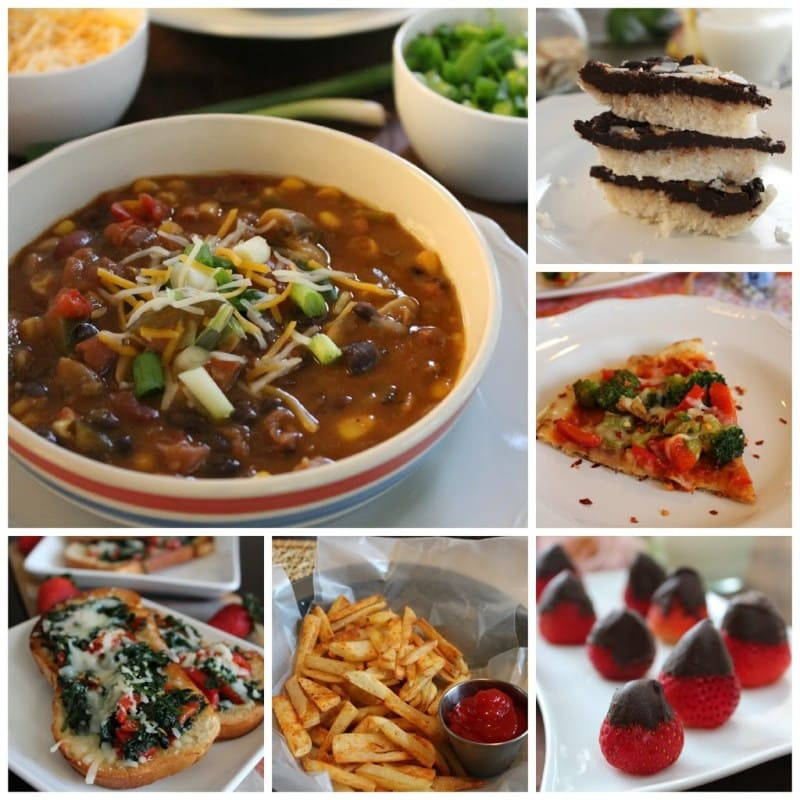 collection of super bowl recipe ideas, vegetarian and vegan dishes