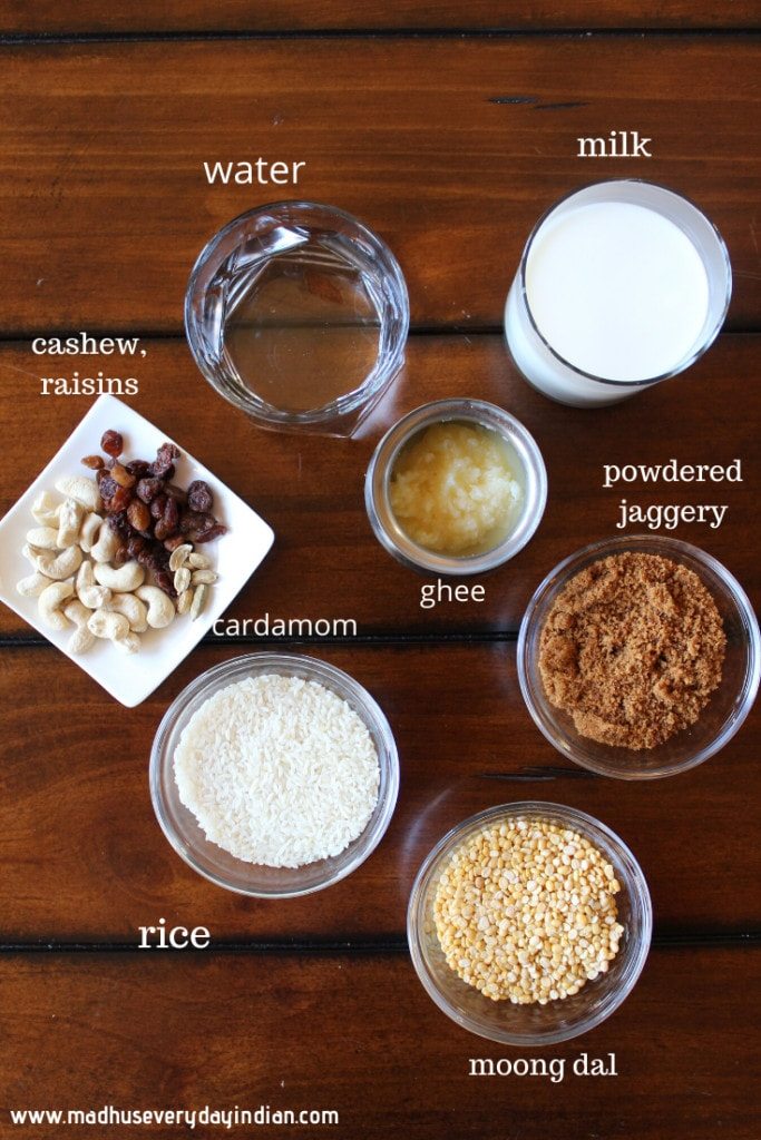 sweet pongal ingredients