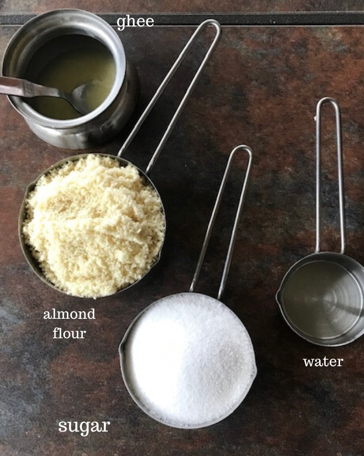 almond burfi ingredients - almond flour,sugar,water.ghee