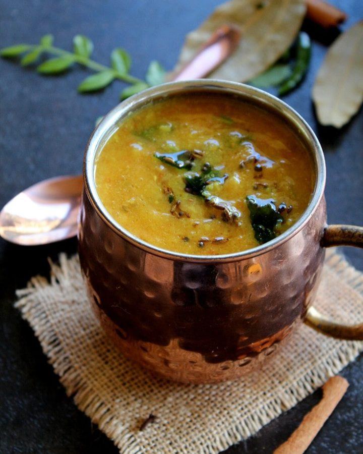 Gujarati dal served in a cup