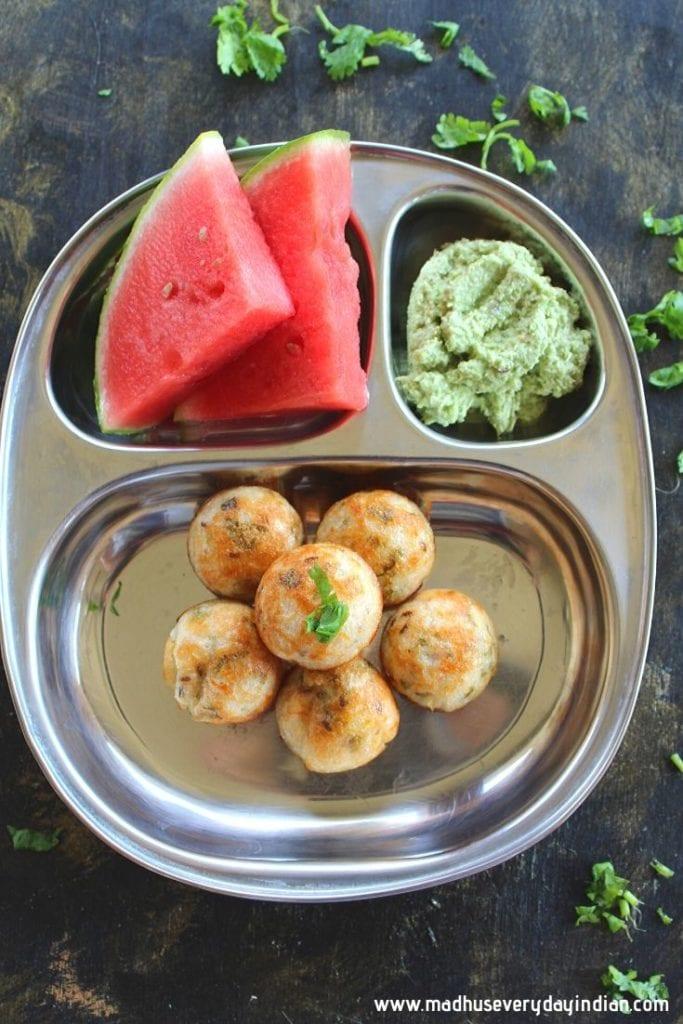 gunta ponganalu served with coconut chutney and watermelon